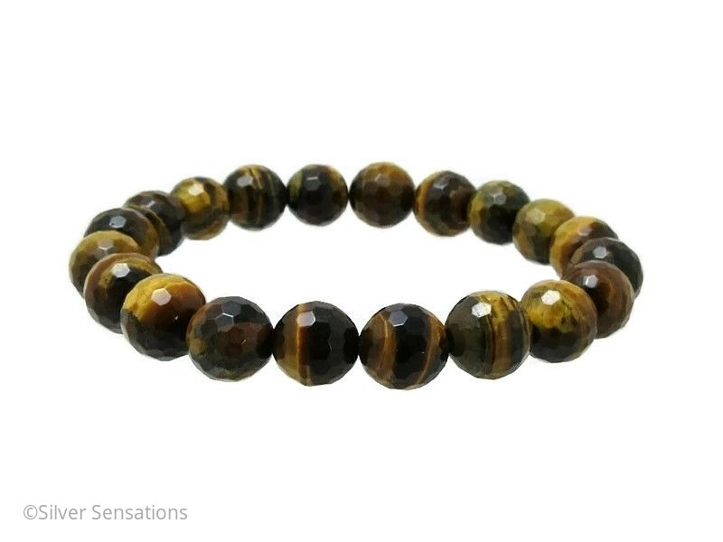 Gleaming Faceted Brown & Yellow Tiger's Eye Chunky Beaded Unisex Bracelet