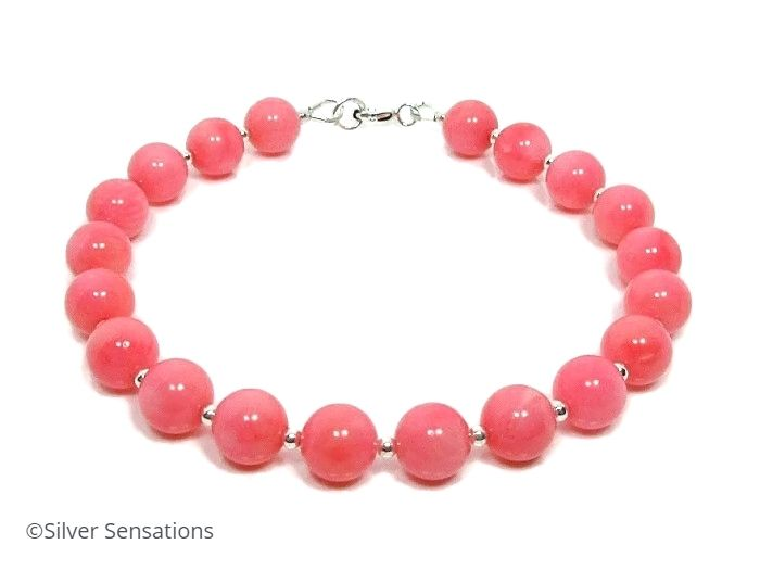 Glossy Pink Coral & Sterling Silver Beaded Bracelet