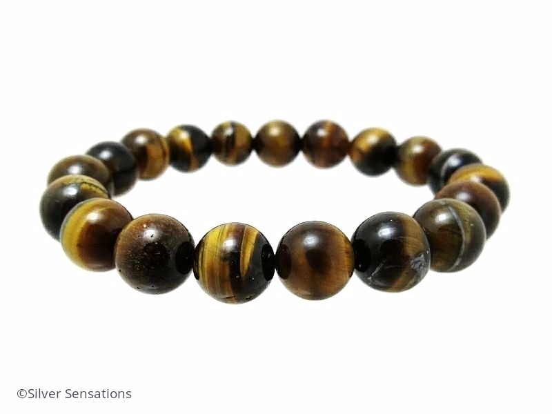Glowing Brown Tiger's Eye Chunky Beaded Unisex Stretch Bracelet