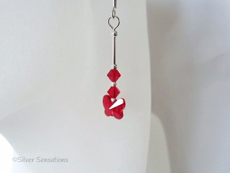Glowing Red Swarovski Butterfly Crystals & Sterling Silver Tube Earrings