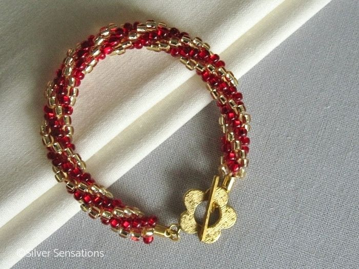 Golden & Ruby Red Stripey Kumihimo Seed Bead Fashion Bracelet