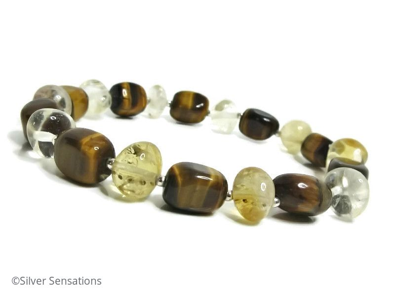 Golden Tiger's Eye, Yellow Citrine Nugget Beads & Sterling Silver Bracelet