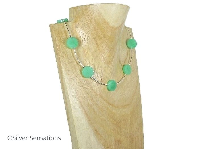 Green Aventurine Coin Beads Necklace With Sterling Silver Curved Tubes