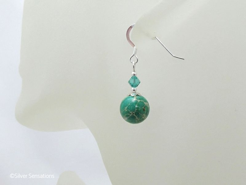 Green Impression Jasper & Sterling Silver Earrings With Swarovski Crystals