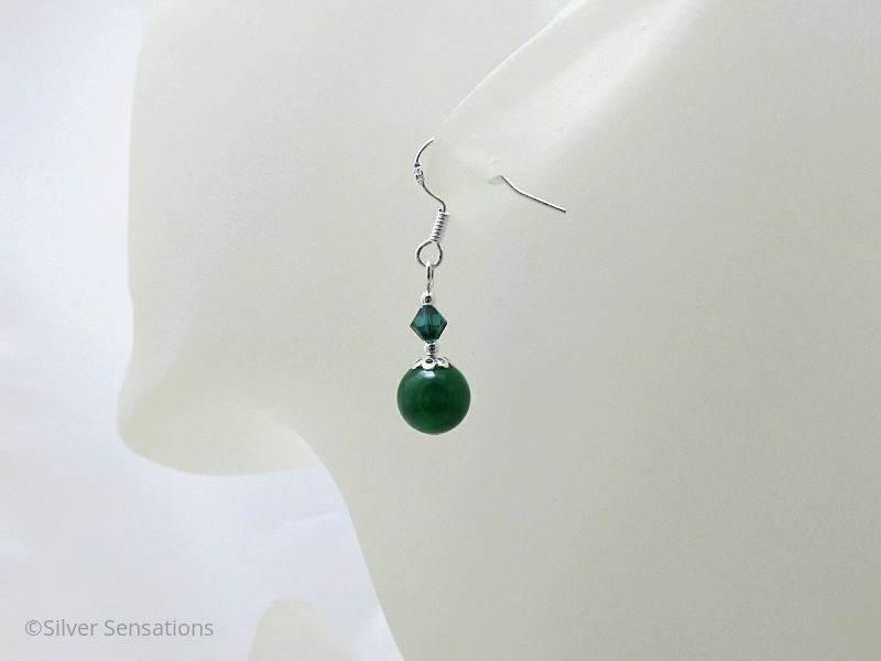 Green Onyx, Swarovski Crystals & Sterling Silver Short Drop Earrings