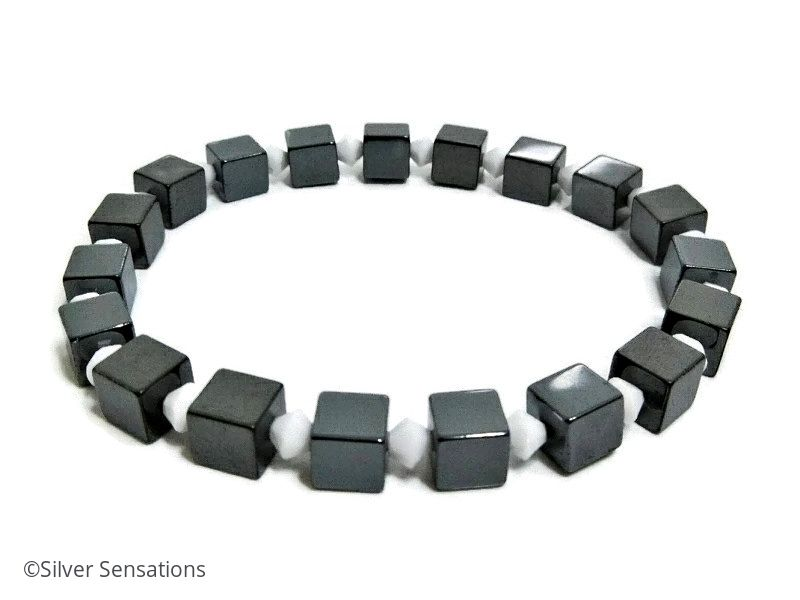 Grey Black Hematite Cube Beads Unisex Bracelet With White Swarovski Crystals