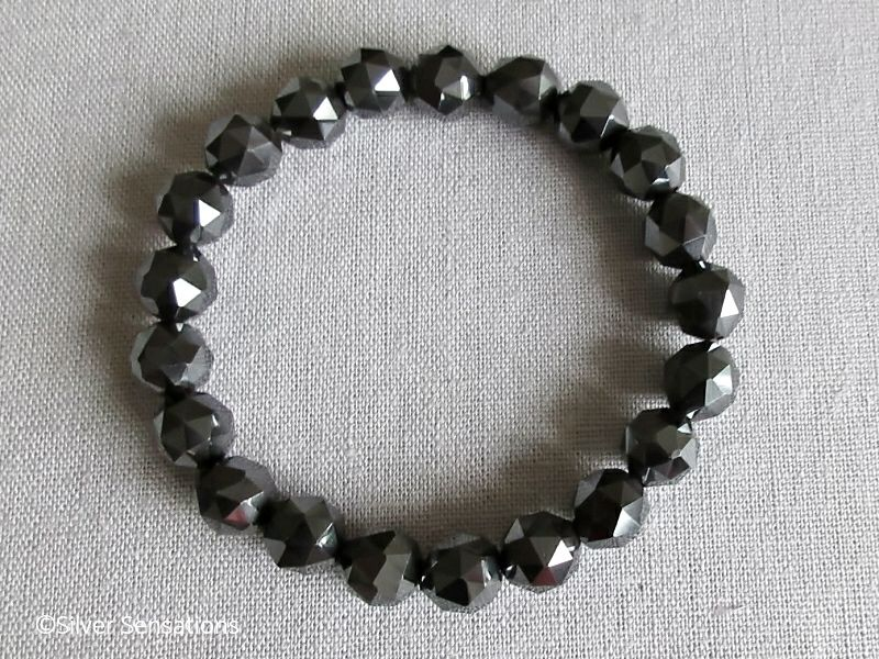 Grey Black Triangular Cut Hematite Beaded Chunky Bracelet