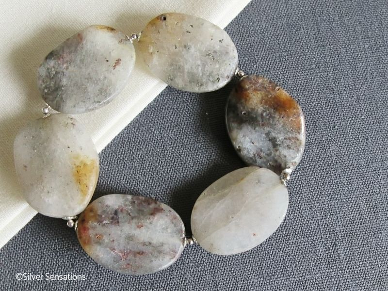 Grey Brown Rutilated Quartz Wavy Bead & Sterling Silver Chunky Bracelet