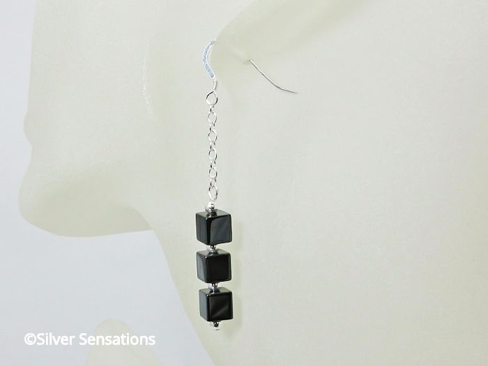 Hematite Cube Beads & Sterling Silver Chain Earrings