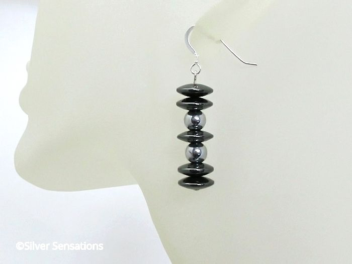 Hematite Discs Beaded Ladies Earrings With Sterling Silver