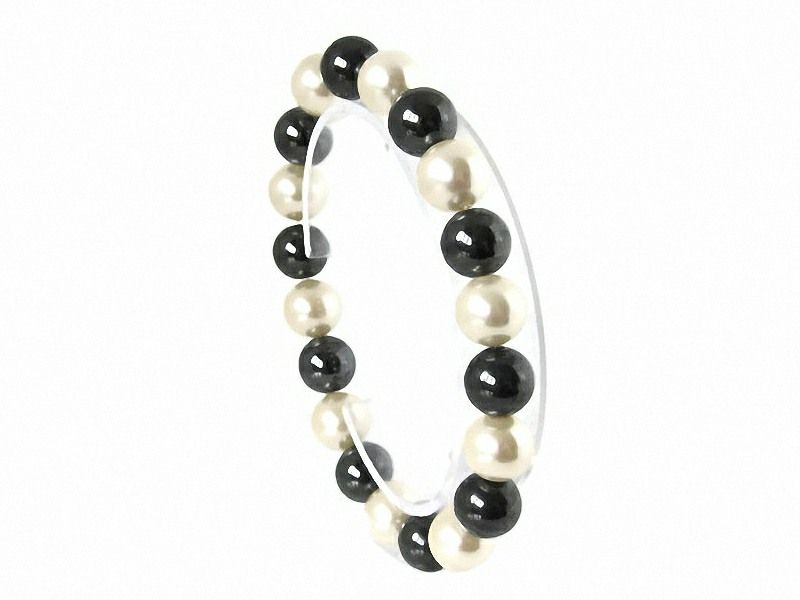 Hematite & Ivory Cream Shell Pearl Chunky Stretch Fashion Bracelet