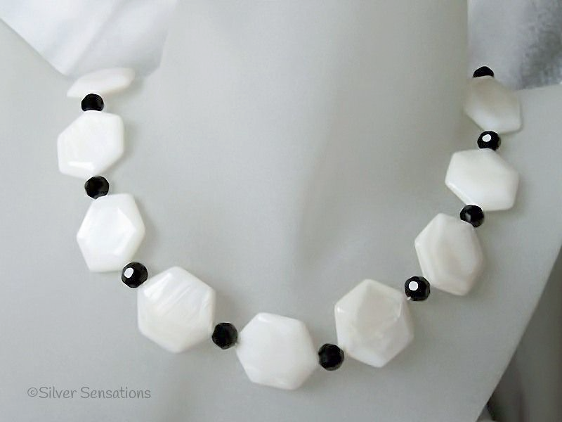 Hexagonal White River Shell & Faceted Black Crystal Necklace