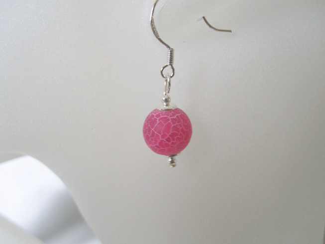 Hot Fucshia Pink Frosted Cracked Agate & Sterling Silver Earrings