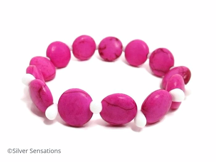 Hot Pink Howlite Turquoise Coins & White Beaded Fashion Bracelet