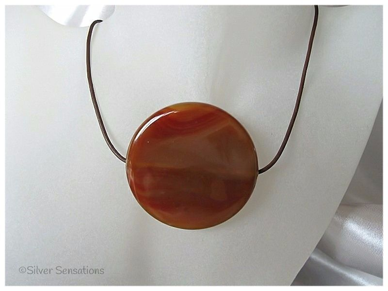 Huge Chunky Brown Agate Disc Pendant & Sterling Silver Leather Necklace