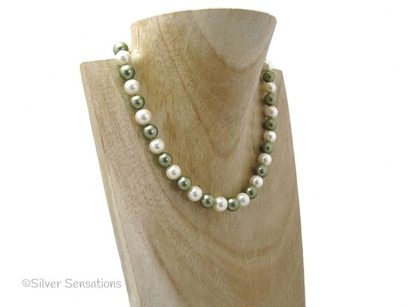 Ivory Cream & Olive Green Shell Pearl Sterling Silver Necklace