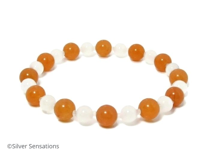 Juicy Orange & White Jade Beaded Fashion Stretch Bracelet