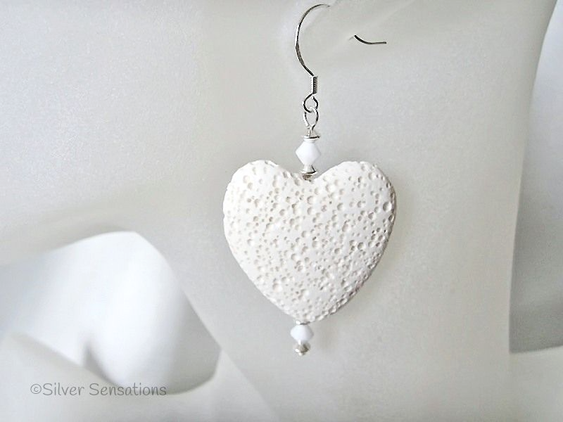 Large White Lava Stone Heart, Swarovski Crystals & Sterling Silver Earrings