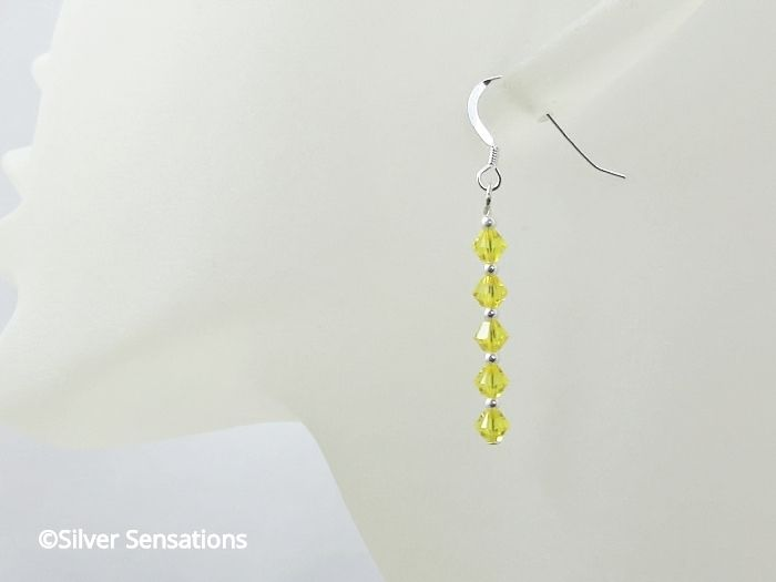 Lemon Yellow Earrings With Sterling Silver & Swarovski Crystals