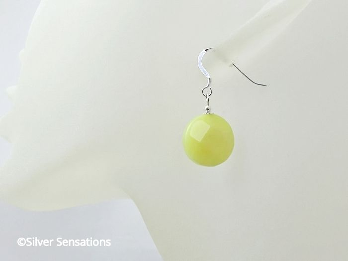 Lemon Yellow Jade Faceted Coin Earrings With Sterling Silver