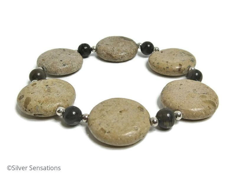Light Brown Sand Jasper Coin Bead Bracelet With Sterling Silver & Coffee Jasper