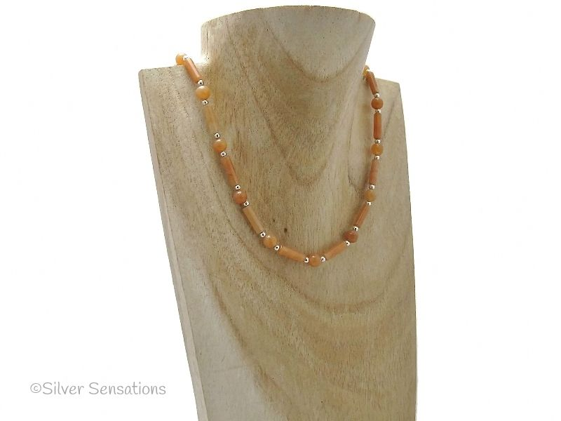 Light Orange Red Aventurine Tubes & Rounds Sterling Silver Necklace