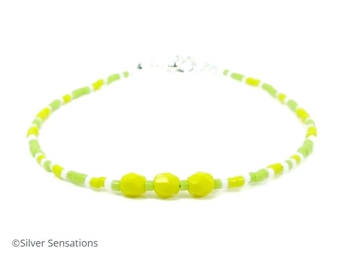 Lime Green & Bright Yellow Seed Bead Holiday Anklet