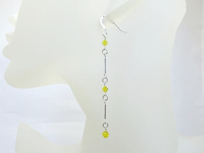 Long Sterling Silver Earrings With Yellow Swarovski Crystals