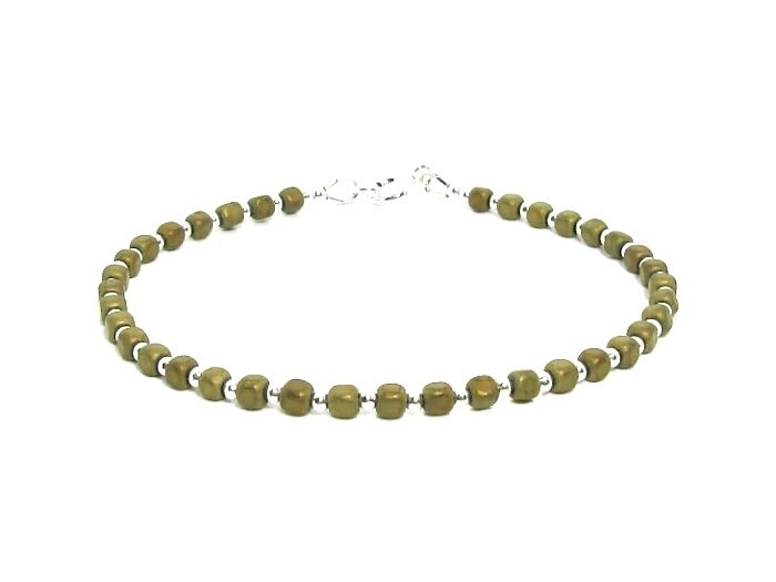 Matte Olive Gold Hematite Cubes Bracelet With Sterling Silver Beads