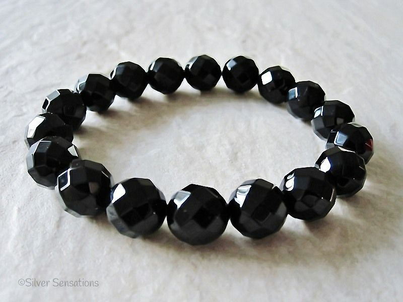 Medium Chunky Faceted Black Onyx Beaded Stretch Fashion Bracelet | Silver Sensations