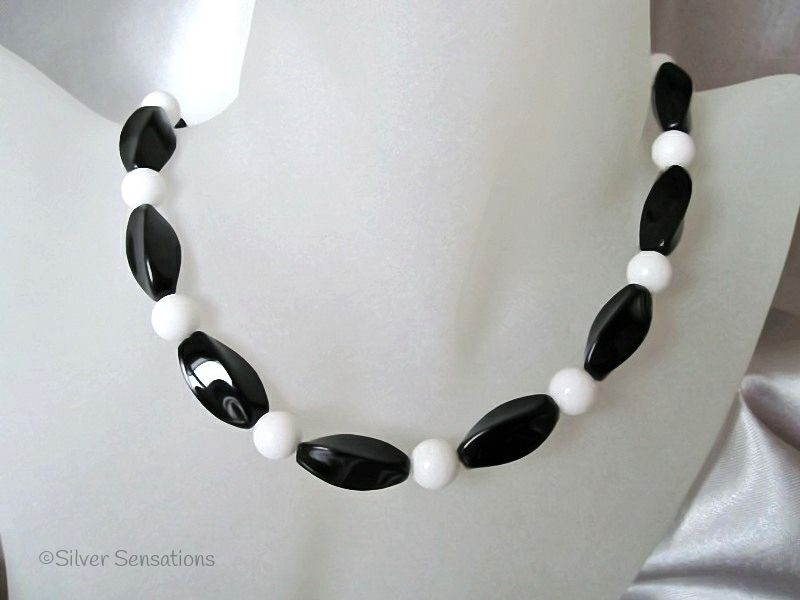 Medium Chunky Twisted Black Onyx & Snow White Agate Necklace