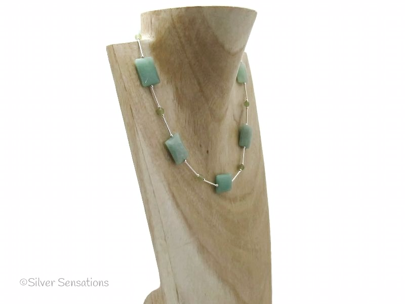 Mid Green Aventurine Oblongs & Sterling Silver Necklace