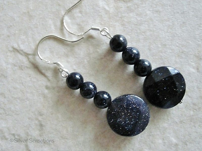Midnight Blue Goldstone Sandstone Faceted Coin Sterling Silver Earrings
