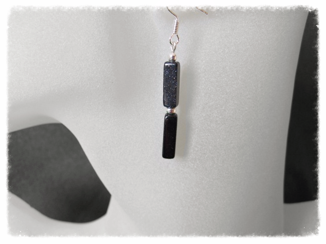 Midnight Blue Goldstone Sandstone Square Tubes & Sterling Silver Earrings