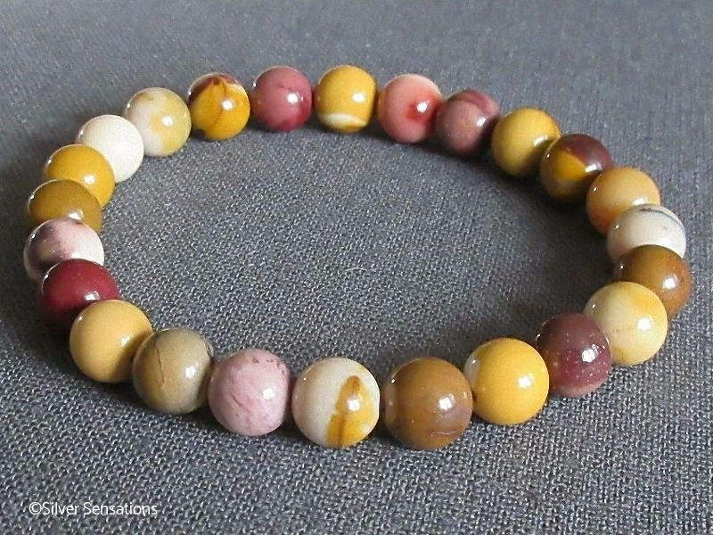 Multi Colour Mookaite Jasper Beaded Fashion Bracelet