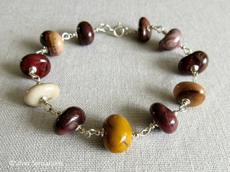 Multi Colour Mookaite Jasper Nuggets & Sterling Silver Wire Wrap Designer Bracelet