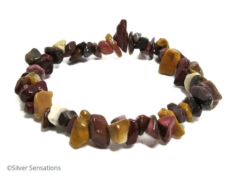 Multi Colour Mookaite Jasper Smooth Tumbled Chips Bead Bracelet