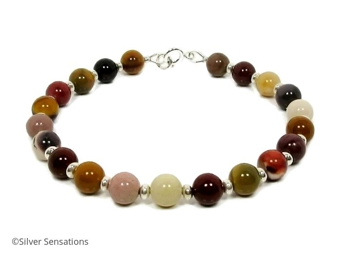 Multi Colour Mookaite Jasper & Sterling Silver Beaded Bracelet
