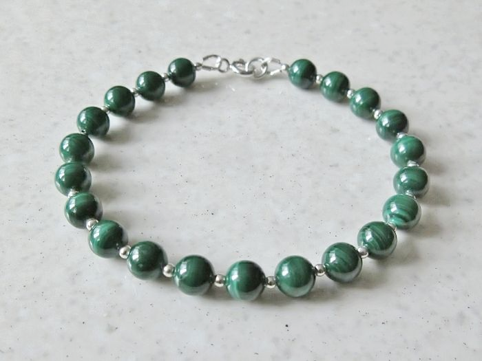 Natural Green Malachite Beaded Bracelet With  Sterling Silver