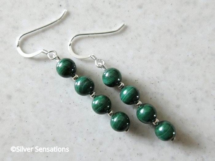Natural Green Malachite Beaded Earrings With Sterling Silver