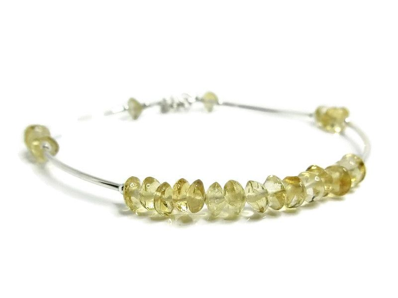Natural Handcut Yellow Citrine Rondelles & Sterling Silver Curve Tubes Bracelet