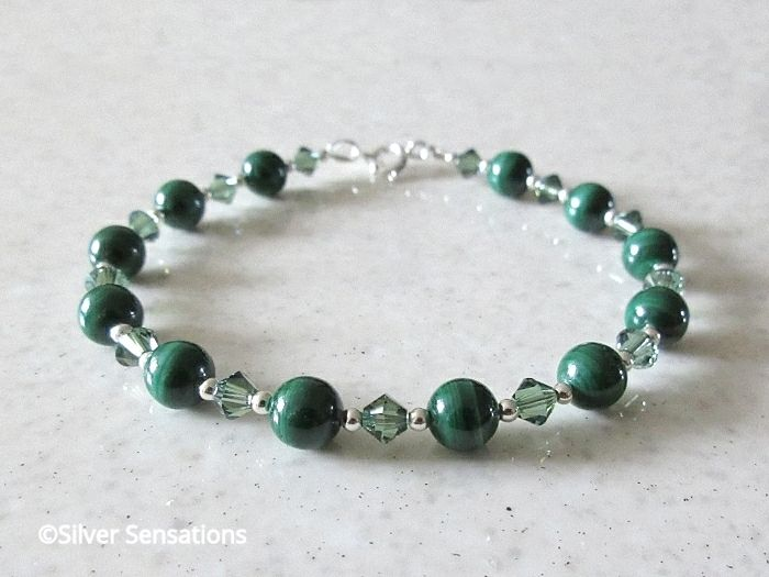 Natural Stripey Green Malachite Bracelet With Swarovski Crystals & Sterling Silver