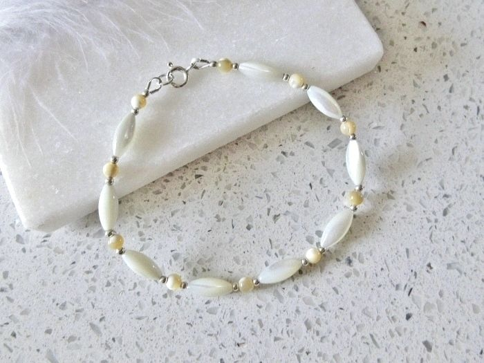 Natural White & Beige Mother of Pearl  Bracelet With Sterling Silver Beads
