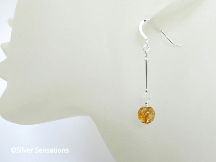 Orange Citrine Quartz Earrings With Swarovski Crystals & Sterling Silver