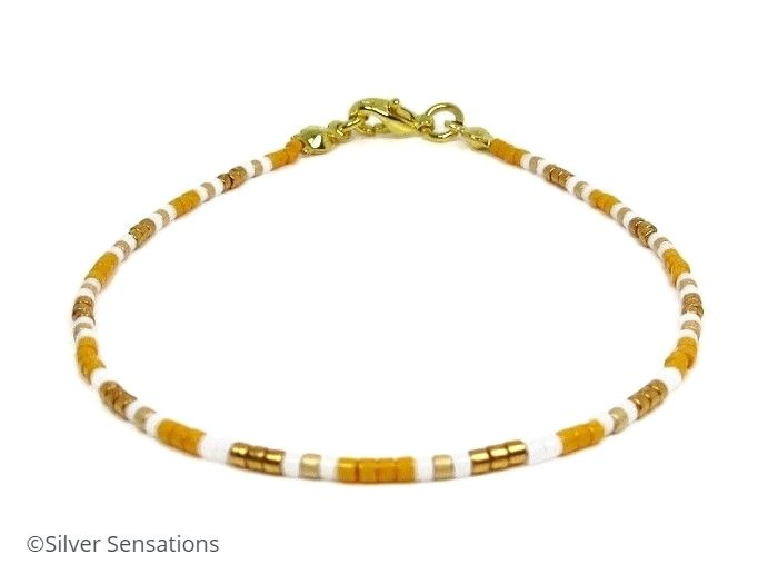Orange, Gold & White Slim Friendship Bracelet | Silver Sensations