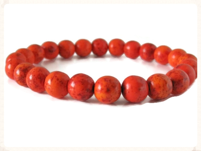 Orange Howlite Turquoise Beaded Stretch Fashion Bracelet