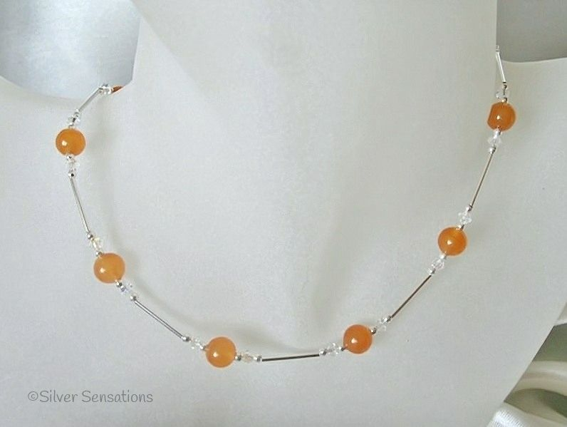 Orange Jade, Sparkly AB Rainbow Swarovski Crystals & Sterling Silver Tubes Necklace