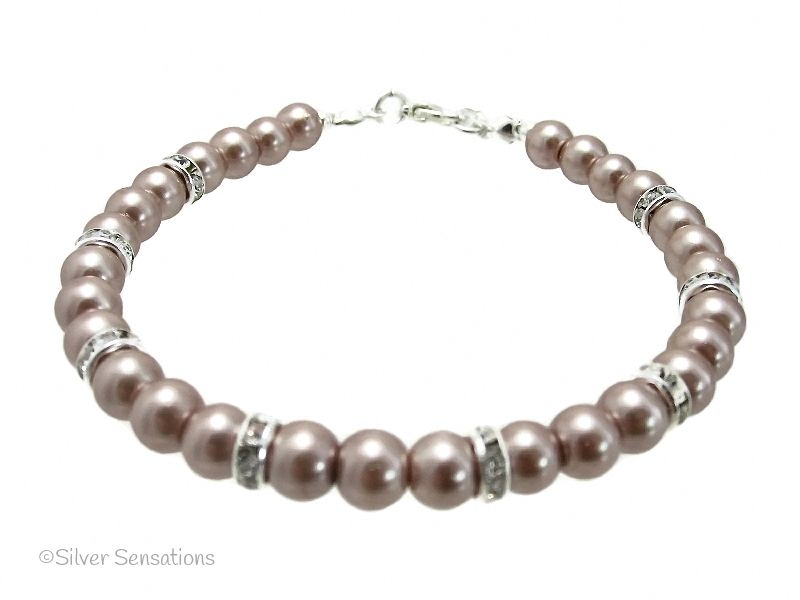 Pale Brown Pearls & Crystals Silver Fashion Bracelet