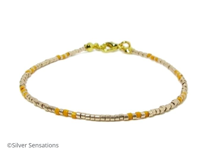 Pale Gold & Orange Seed Bead Stacking Bracelet | Silver Sensations