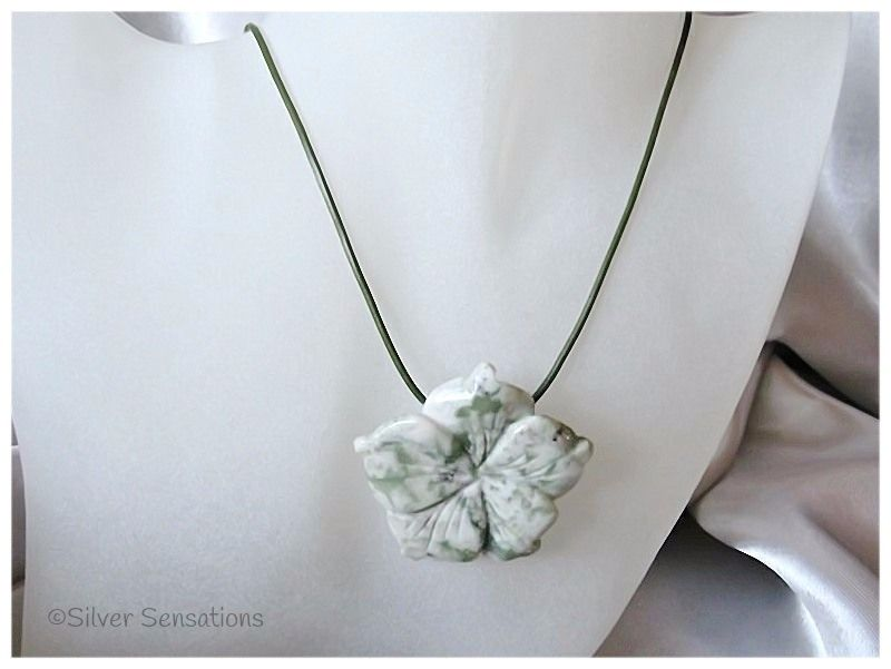 Pale Light Green Peace Jade Carved Flower Pendant Sterling Silver & Leather Necklace